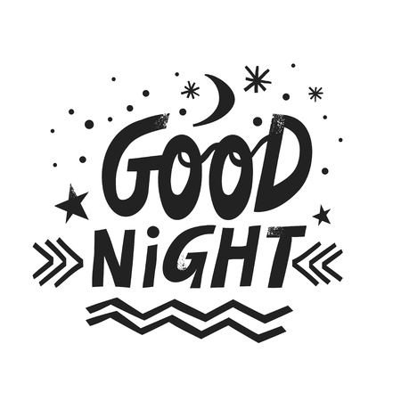 Vector hand-drawn lettering Good Night with moon, stars and snowflakes. Illusztráció