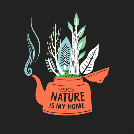 Vector hand-drawn illustration. Red teapot with forest growing inside and lettering Nature is my home on a black background.