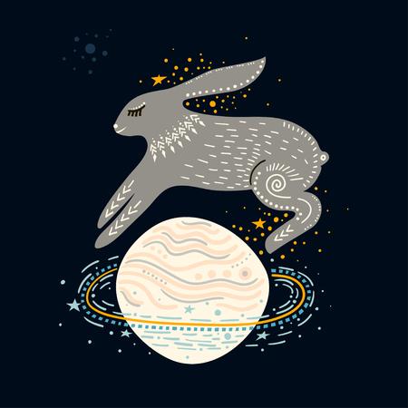 Vector childish illustration. Hand-drawn  rabbit jumping over the Saturn planet.