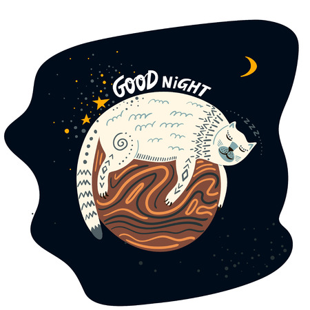 Vector childish hand-drawn illustration. White cat sleeping on the planet in space and lettering Good Night. Illusztráció