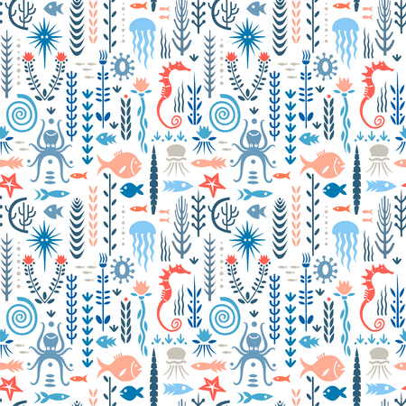 Seamless pattern with underwater plants and animals. Concept for nursery prints, textile, wallpapers. Red and blue palette.