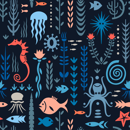 Seamless pattern with underwater plants and animals. Concept for nursery prints, textile, wallpapers. Red and blue palette on a dark background.