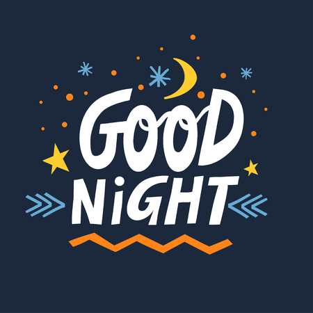 Vector hand-drawn lettering Good Night with moon, stars and snowflakes on a dark blue background. Illusztráció