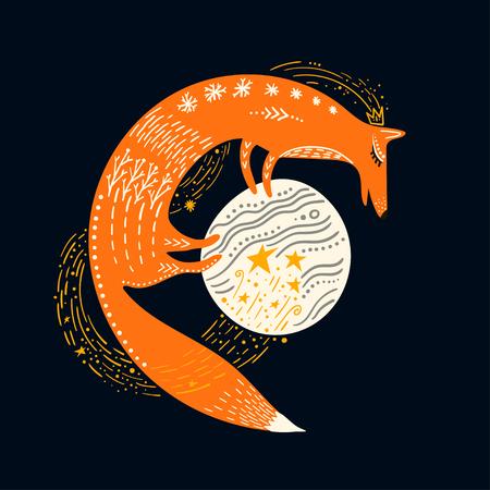 Vector childish illustration. Hand-drawn fox standing on the planet.