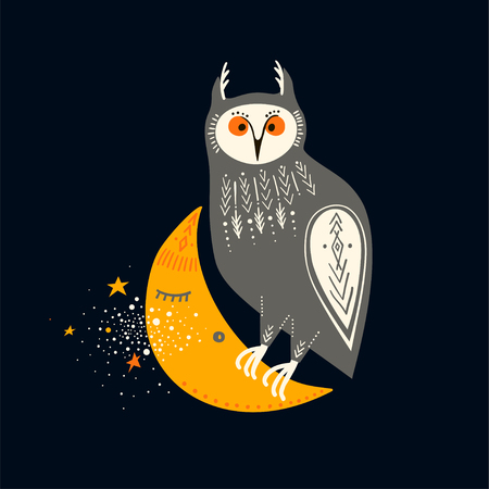 Vector childish illustration. Hand-drawn owl sitting on the moon.