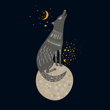 Vector childish hand-drawn illustration. Gray wolf sitting on a planet in space and howling at the moon.