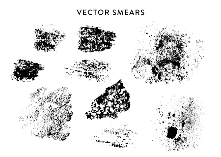 Vector set of handmade grunge stains, imprints.