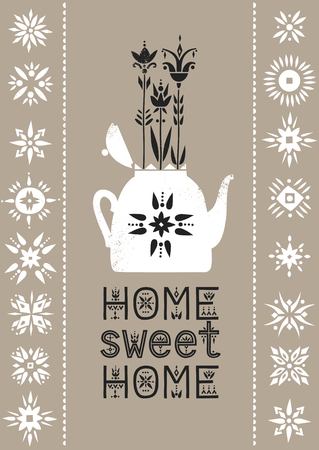 Vector illustration with a teapot and growing flowers and lettering Home Sweet Home.