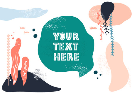 Vector template with space for text. Theme of underwater world, fishes and seaweeds, travel. Banque d'images - 118042494