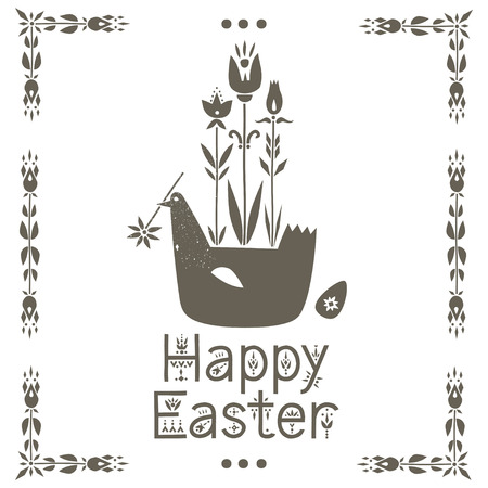 Vector greeting card. Illustration of bird, growing flowers and lettering Happy Easter. Illusztráció