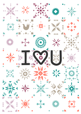 Vector greeting card. Lettering I Love You on a background of patterned tiles.