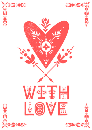 Vector greeting card. White heart decorated with flowers and lettering With Love.