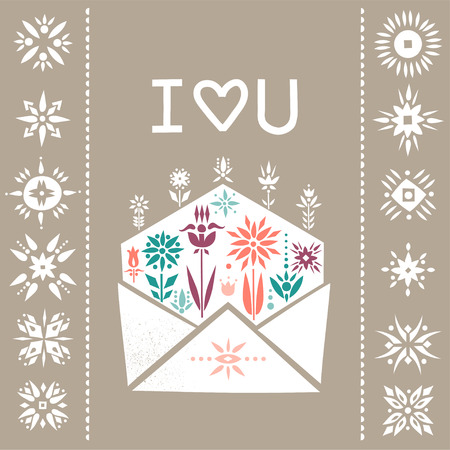Vector square greeting card for Valentine's Day. Open envelope with growing flowers and lettering I Love You.