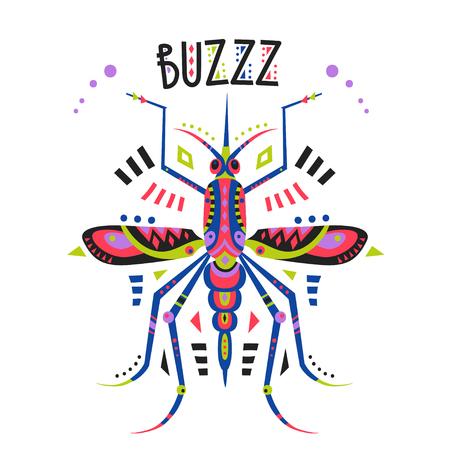 Vector flat illustration with stylized mosquito and lettering Buzzz. Illusztráció