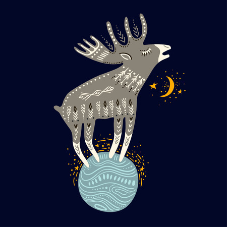 Vector childish hand-drawn illustration. Elk standing on the planet in space.