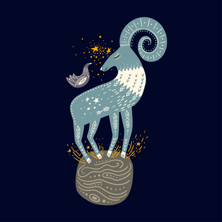 Vector childish hand-drawn illustration. Mountain sheep standing on the planet in space and a bird sitting on it.