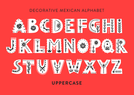 Vector patterned alphabet decorated with folk mexican ornaments.  Display uppercase font on a red background. Illusztráció