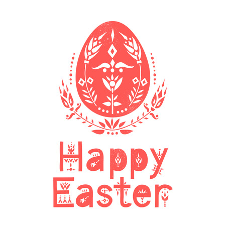 Vector greeting card. Egg decorated with floral pattern and lettering Happy Easter.