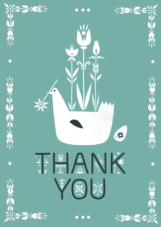Vector greeting card. Illustration of bird, growing flowers and lettering Thank You.
