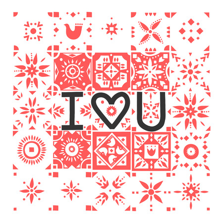 Vector greeting card. Lettering I Love You on a background of red patterned tiles.