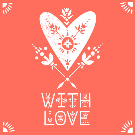Vector greeting card. White heart decorated with flowers and lettering With Love on a red background.