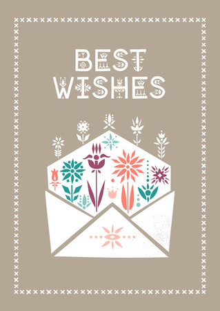 Vector rectangular greeting card for Valentine's Day. Open envelope with growing flowers and lettering I Love You.
