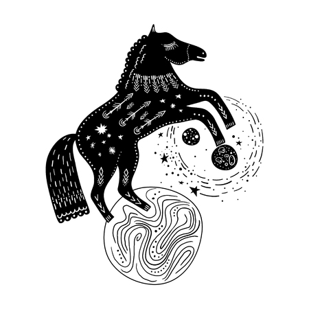 Vector childish hand-drawn illustration. Horse rearing up on the planet in space. Black and white. Illusztráció