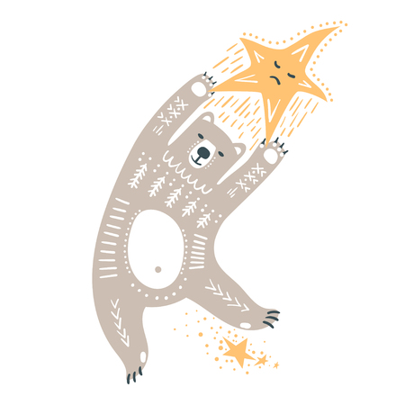 Vector childish hand-drawn illustration. A polar bear flies in space holding onto a star.