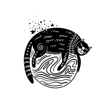 Vector childish hand-drawn illustration. Cat sleeping on the planet in space. Black and white.