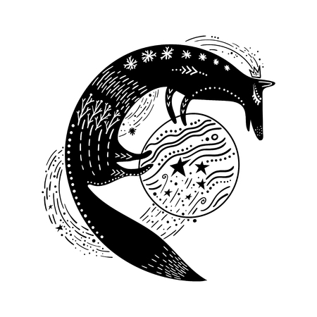 Vector childish illustration. Hand-drawn fox standing on the planet. Black and white.