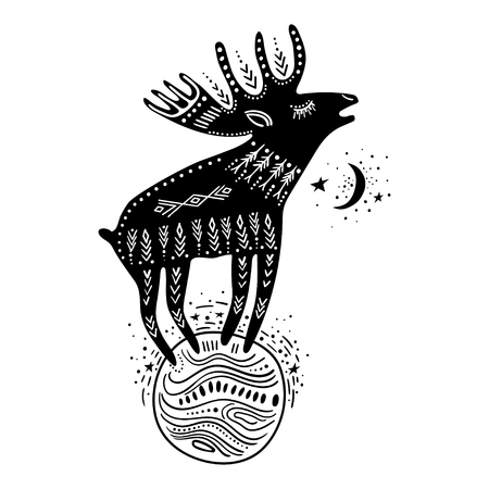 Vector childish hand-drawn illustration. Elk standing on the planet in space. Black and white.