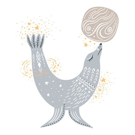 Vector childish hand-drawn illustration. Fur seal playing with the planet in space.