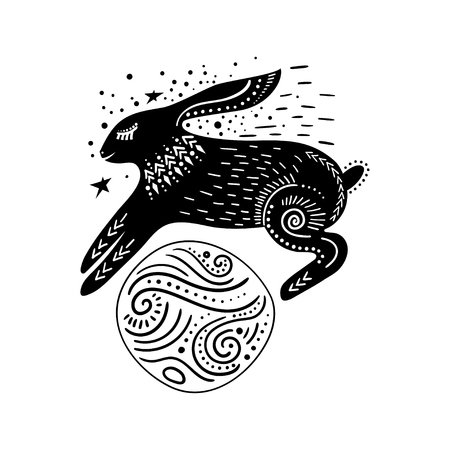 Vector childish illustration. Hand-drawn  rabbit jumping over the planet. Black and white.