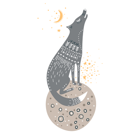 Vector childish hand-drawn illustration. Wolf sitting on a planet in space and howling at the moon, isolate.