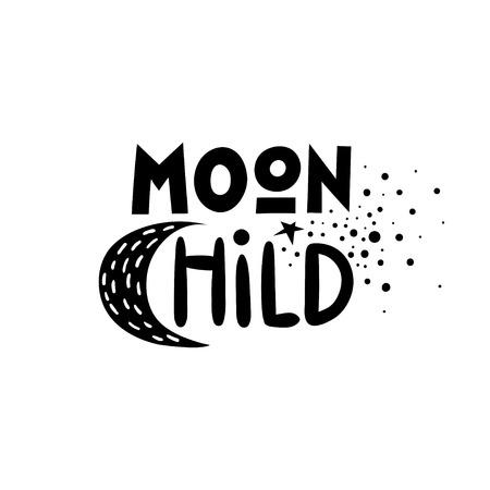 Vector black lettering poster Moon Child. Illustration