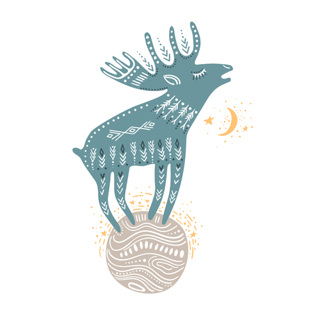 Vector childish hand-drawn illustration. Elk standing on the planet in space, isolated.