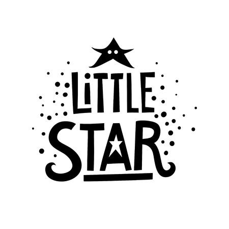 Vector black lettering poster Little Star. Illustration
