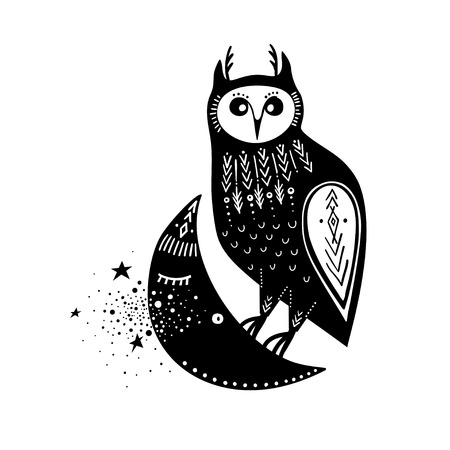 Vector childish illustration. Hand-drawn owl sitting on the moon. Black and white.
