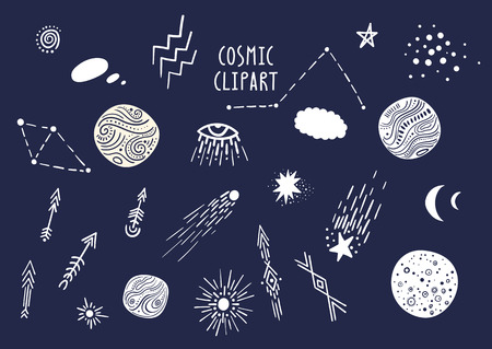 Vector set of hand-drawn cosmic elements: planet, moon, comet, star, constellation. Hand-drawn doodle style.
