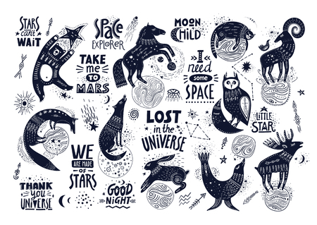 Vector hand-drawn illustration with lettering. Various magic animals and cosmic quotes. Illustration