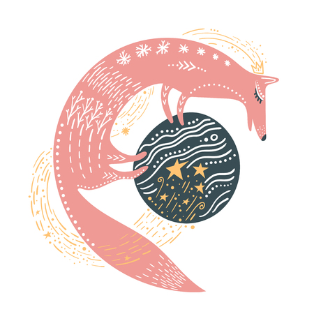 Vector childish illustration. Hand-drawn fox standing on the planet, isolated. Illustration