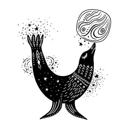 Vector childish hand-drawn illustration. Fur seal playing with the planet in space. Black and white.
