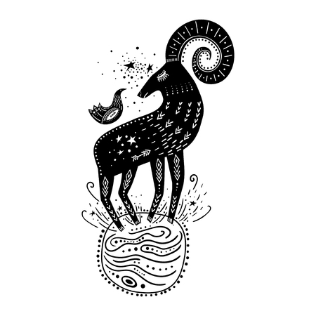 Vector childish hand-drawn illustration. Mountain sheep standing on the planet in space and a bird sitting on it. Black and white.