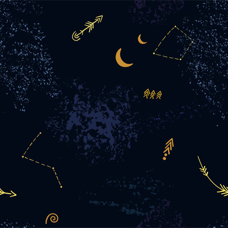 Seamless background of night sky with cosmic pattern.