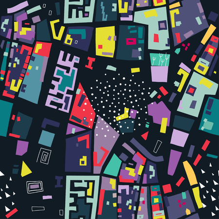 Vector seamless pattern made of colored polygons based on the city map on black background.