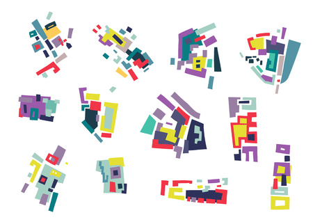 Vector set of abstract geometric shapes, blocks based on city map.