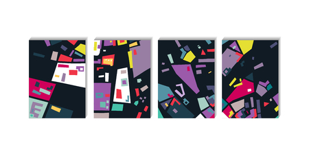 Vector set of rectangular abstract backgrounds based of city map. For posters, presentations.