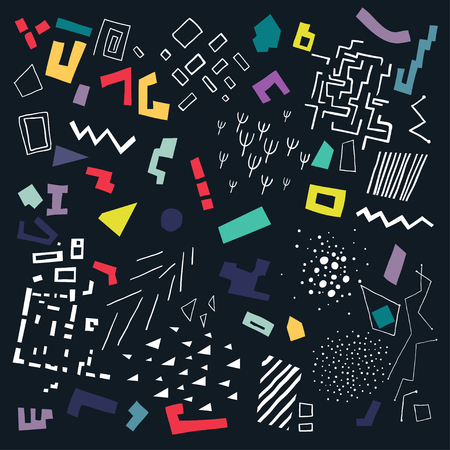 Vector pattern made of colorful shapes and white structures on black background.