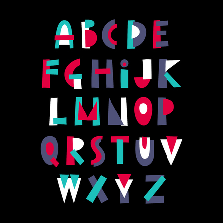 Vector display trendy alphabet made of colorful geometric shapes. Illustration