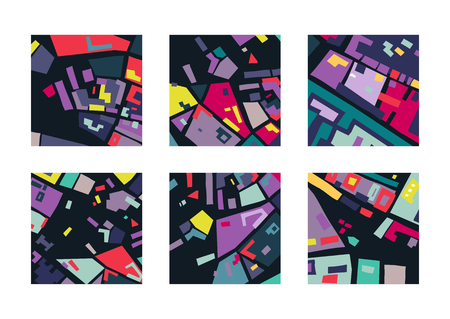 Vector set of square abstract backgrounds based of city map. For posters, presentations. Illustration